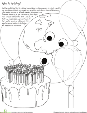Happy Birthday Earth! Color the Earth Day Scene