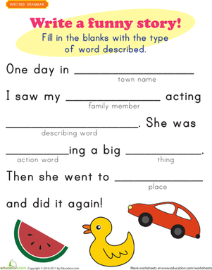 Fill In The Blank Questions Funny : blank, questions, funny, Funny, Story, Templates, Education.com