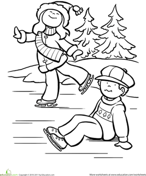 Ice Skates Coloring page | Sports coloring pages, Coloring