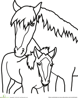 Baby Horse Coloring Pages : horse, coloring, pages, Horse, Worksheet, Education.com