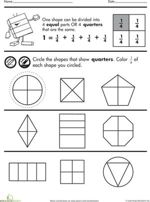 Shape Fractions Quarters  Worksheet  Educationcom
