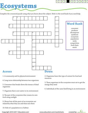 Life Science Crossword Ecosystems  Worksheet  Educationcom