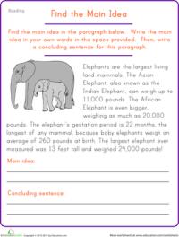 Find the Main Idea: Elephant | Worksheet | Education.com
