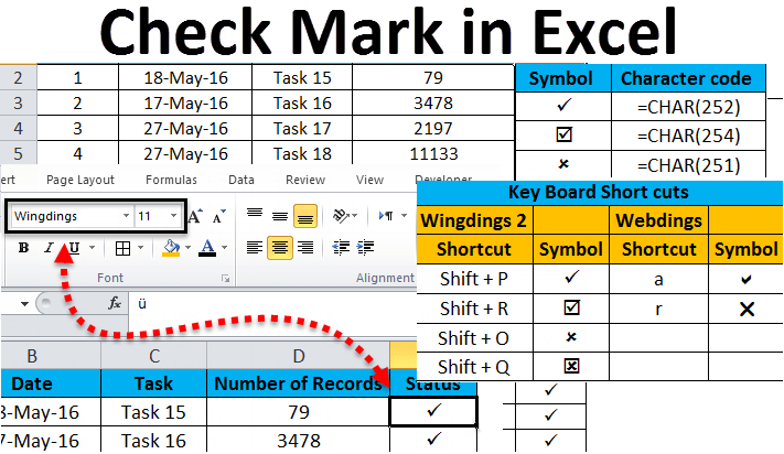 Checkmark In Excel Examples How To Insert Checkmark Symbol