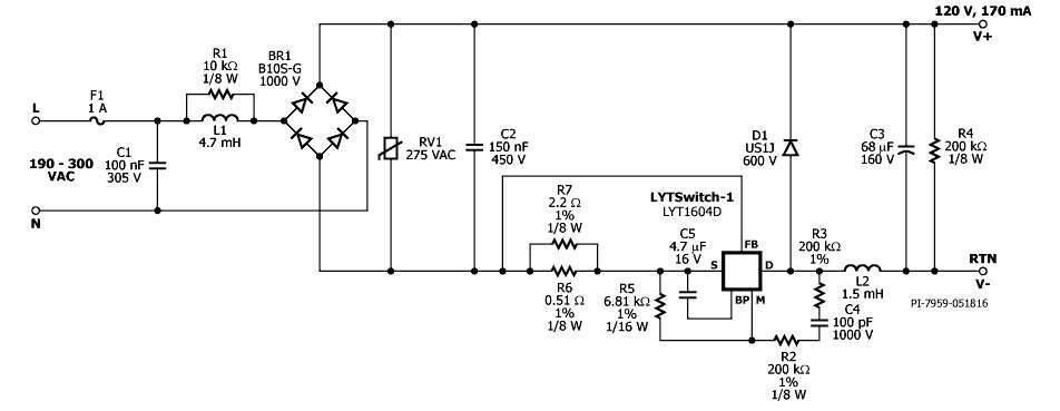 20.4 W Non-Dimmable, High Efficiency (>94% ), Power Factor