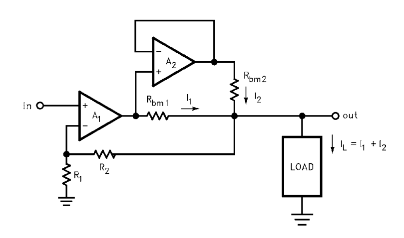 Doubling the Output Current to a Load with a Dual Op Amp