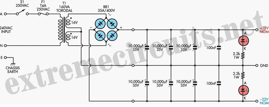 Dual Polarity Unregulated PSU For High-End Audio Amps
