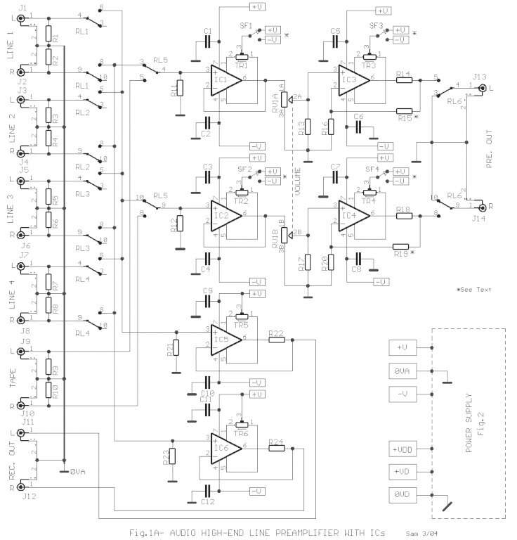 Integrated Circuit Based High End Audio Line Preamplifier