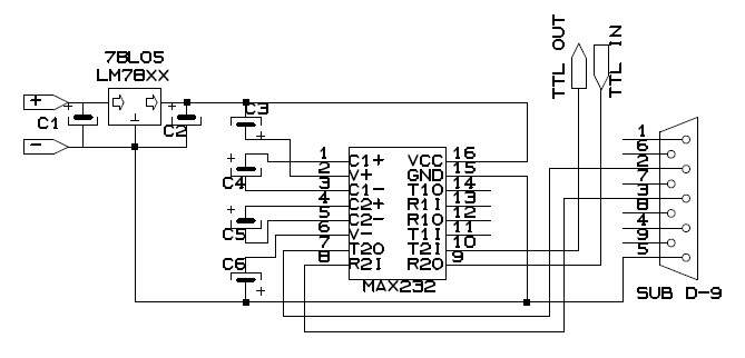 ttl level rs232 converter by max232 pictures