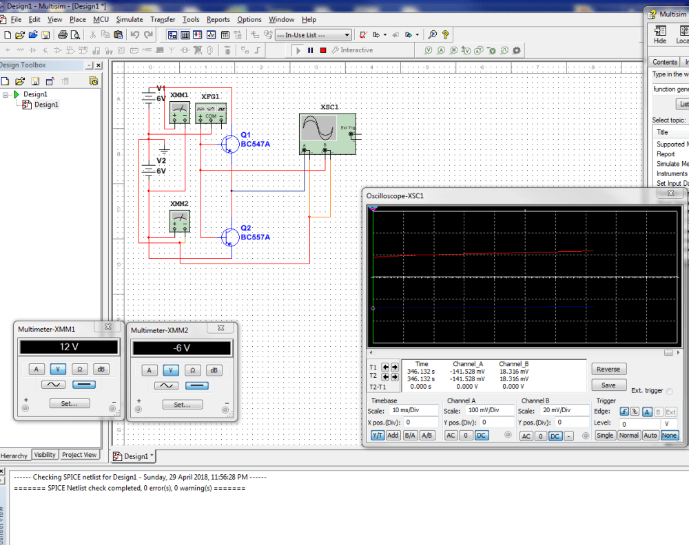 medium resolution of basic npn pnp amplifier test circuit not behaving as expected in multisim can anyone please tell me what i have done wrone