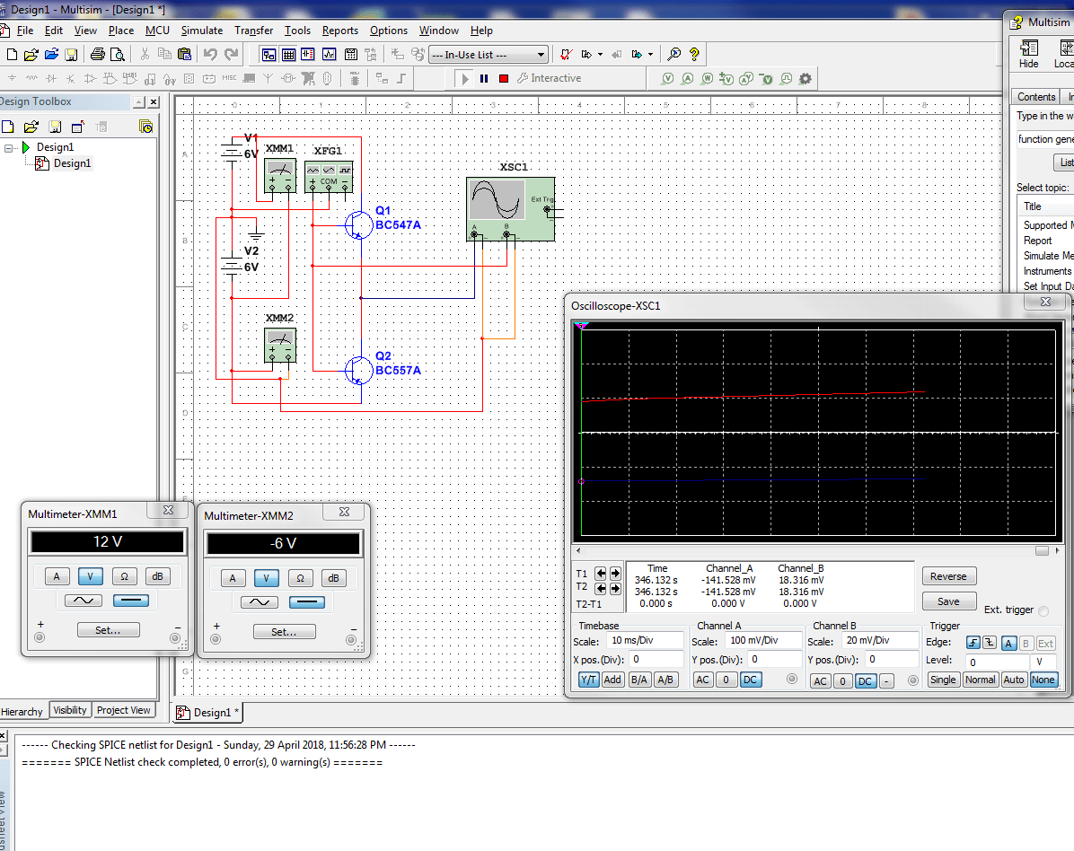 hight resolution of basic npn pnp amplifier test circuit not behaving as expected in multisim can anyone please tell me what i have done wrone