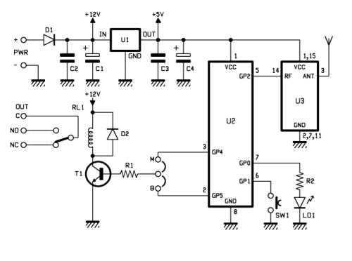 Simple 1-Channel Remote Control Receiver at 433.92 MHz