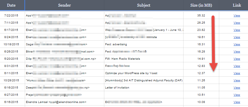 Sorting Gmail messages by size in Google Sheets