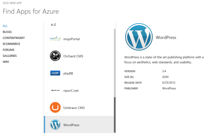 Select WordPress from Blogs section, among the available Apps for Azure