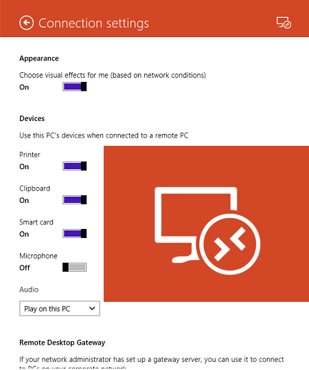 Windows 8 App for RemoteApp and Desktop Connetions
