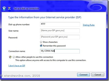 ISP info to Set up a dial-up connection, img © ekendraonline.com, 2008