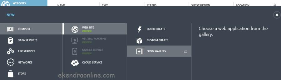 Web application gallery breadcrumb in Windows Azure Management Workspace