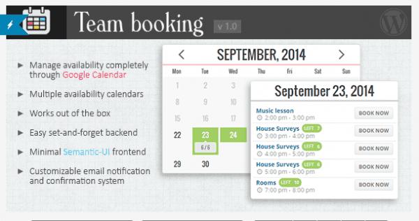 Team Booking Plugin on CodeCanyon