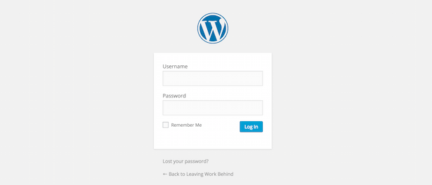 Écran standard de connexion WordPress