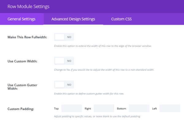 A section of the Row Module Settings screen