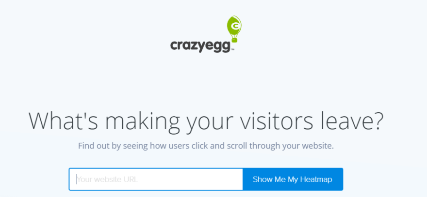 The Crazy Egg homepage.