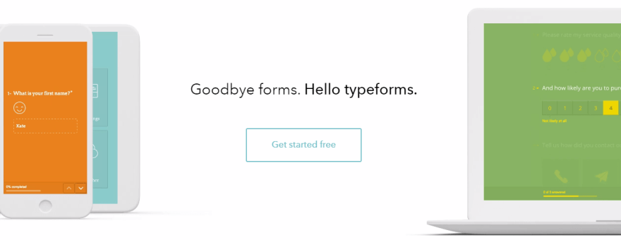 The Typeform homepage.
