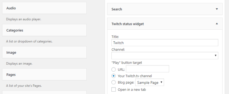 Configuring your Twitch widget.