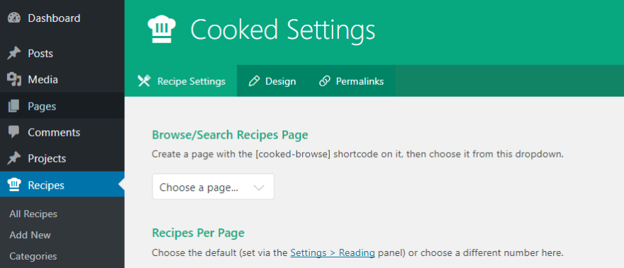 The Cooked plugin's settings.