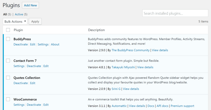 A list of plugins in the dashboard.