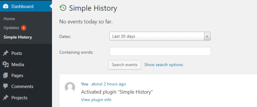 The Simple History page on your dashboard.