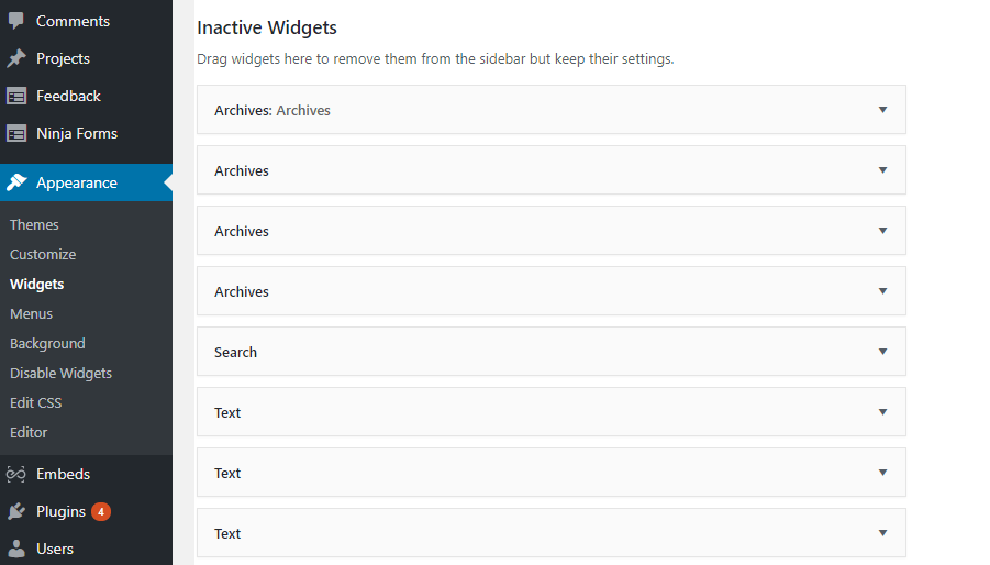 disable WordPress Widgets