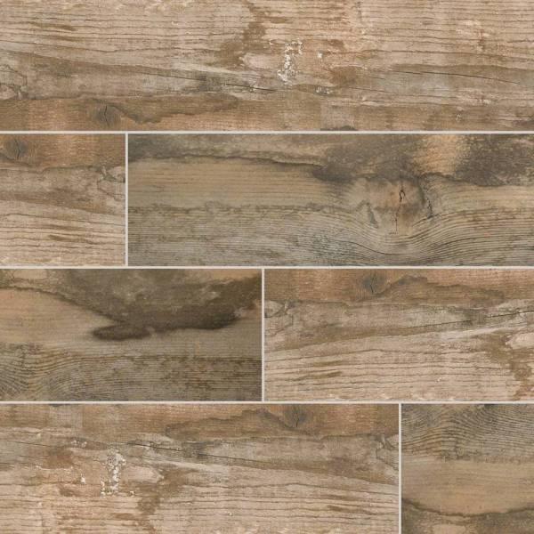 salvage brown wood look tile 6x40