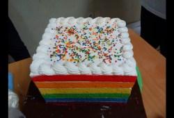 Cara Memasak Resep Cara Membuat RAINBOW CAKE KUKUS Yang Lembut