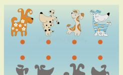 Download Funny Cartoon Dogs Find The Correct Shadow Stock Il Ration Il Ration Of Educational