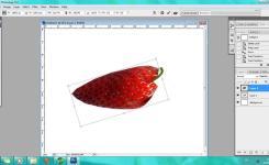Langkah Keempat Buat Layer Potongan Strawberrynya Agak Transaparan Tujuannya Agar Bentuk Cabenya Terlihat Car Atur Fill Dan Capacity