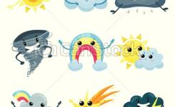 Set Of Weather Forecast Icons With Funny Faces Cartoon Sun Cute Rainbow Falling Star Angry