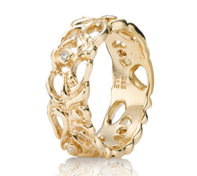 14ct Gold and Diamond Lattice Band Ring