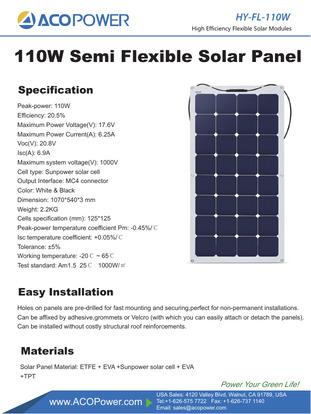 Acopower Hy Fl 110w Hy Fl 110w Best Solar Panels For Homes 2021 Energypal Buyer S Guide