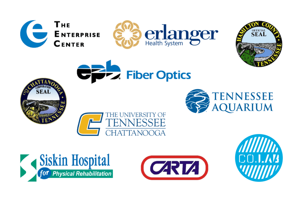 The ten logos from Chattanooga Smart Community Collaborative members are shown: The Enterprise Center, Erlanger Health System, The City of Chattanooga, EPB Fiber Optics, Hamilton County, The Tennessee Aquarium, The University of Tennessee at Chattanooga, Siskin Hospital for Physical Rehabilitation, CARTA, and Co.Lab.