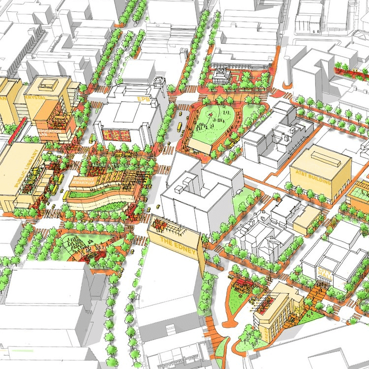 An illustration shows a map of downtown Chattanooga, highlighting buildings included in the Innovation District Framework Plan.