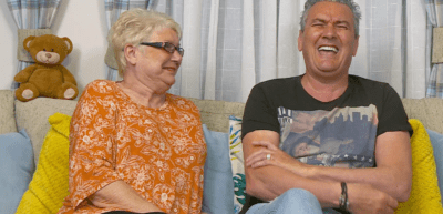 Gogglebox stars Jenny and Lee laugh on the show