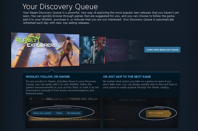 Steam Discovery Queue
