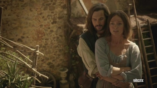 Leonardo (Tom Riley) and Lucrezia (Laura Haddock) are finally together in Leo's made-up world. Photo by Starz.