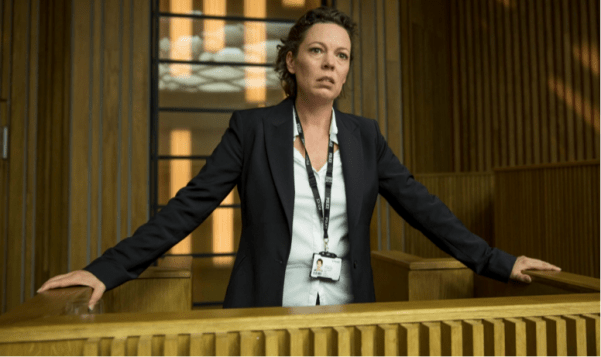 Ellie Miller (Olivia Colman) testifies as a witness at the murder trial of her husband Joe Miller. Photo by BBC America.