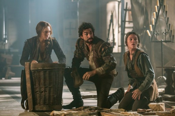 Lucrezia (Laura Haddock), Zoroaster (Gregg Chillin), and Sophia (Sabrina Bartlett) come up with a plan to save Italy. Photo via Far, Far Away Site.