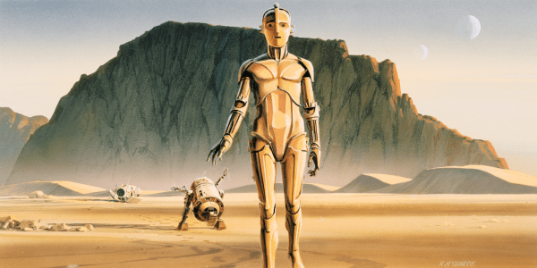 Ralph McQuarrie Concept Art Painting of R2D2 and C3PO