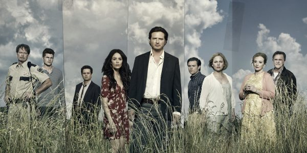 (L to R) JD Evermore as Sheriff Carl Daggett, Jake Austin Walker as Jared Talbot, Luke Kirby as Jon Stern, Abigail Spencer as Amantha Holden, Aden Young as Daniel Holden, Clayne Crawford as Ted Talbot Jr, Adelaide Clemens as Tawney Talbot, J Smith-Cameron as Janet Talbot, Bruce McKinnon as Ted Talbot Sr - Rectify _ Season 4, Gallery - Photo Credit: James Minchin/Sundance TV