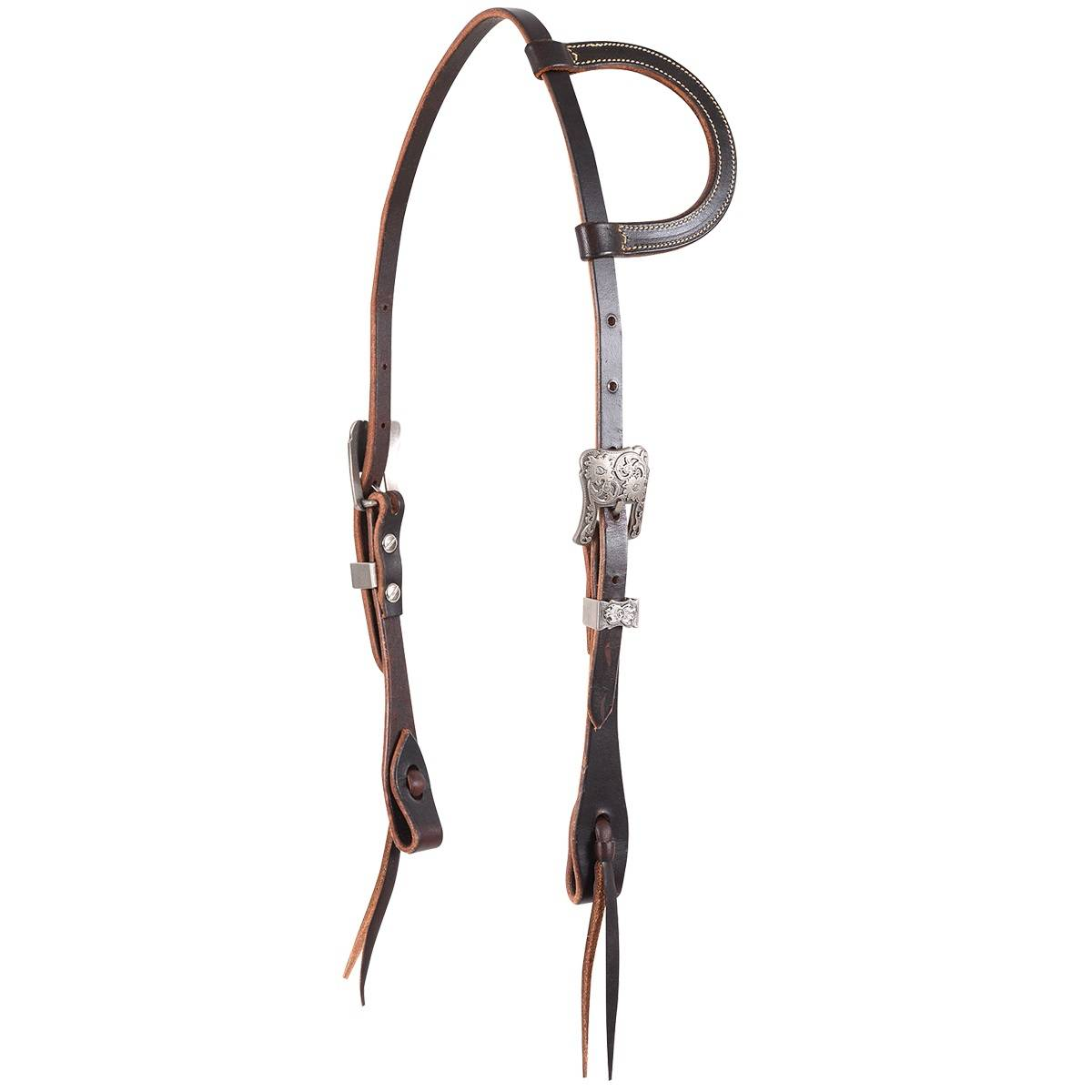 Martin Slip Ear Antique Silver Buckle Headstall Chocolate