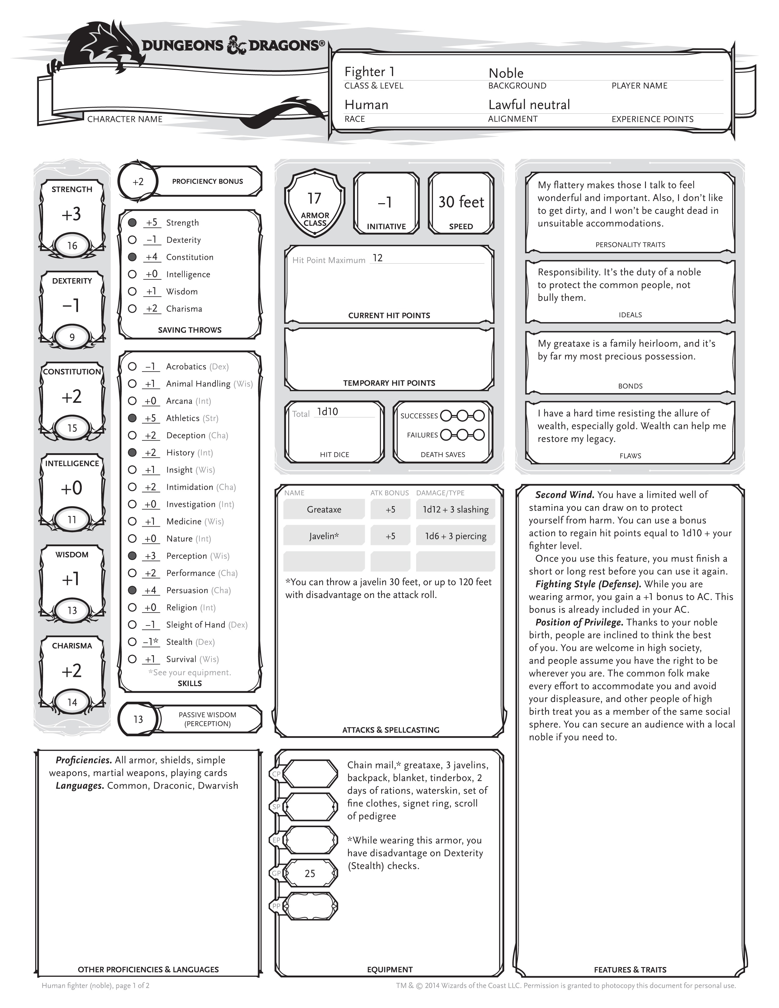 Dungeons Amp Dragons Reveals Its Latest Character Sheet