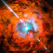 Rappresentazione artistica di un lampo di luce gamma e di una supernova alimentati da una magnetar